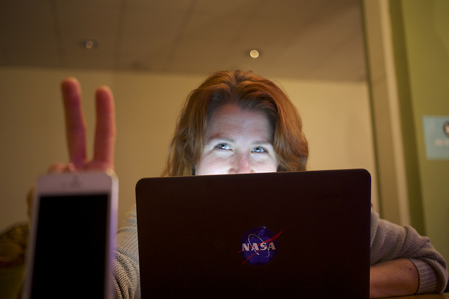Corbett rocking the NASA logo laptop sticker.