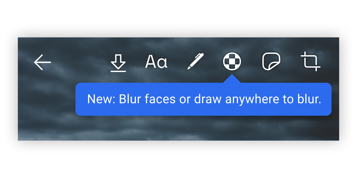 A close-up of the blur button in the image editor.