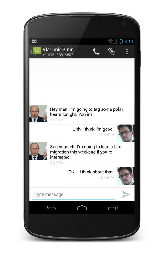 Screenshot of an encrypted conversation on Cyanogen