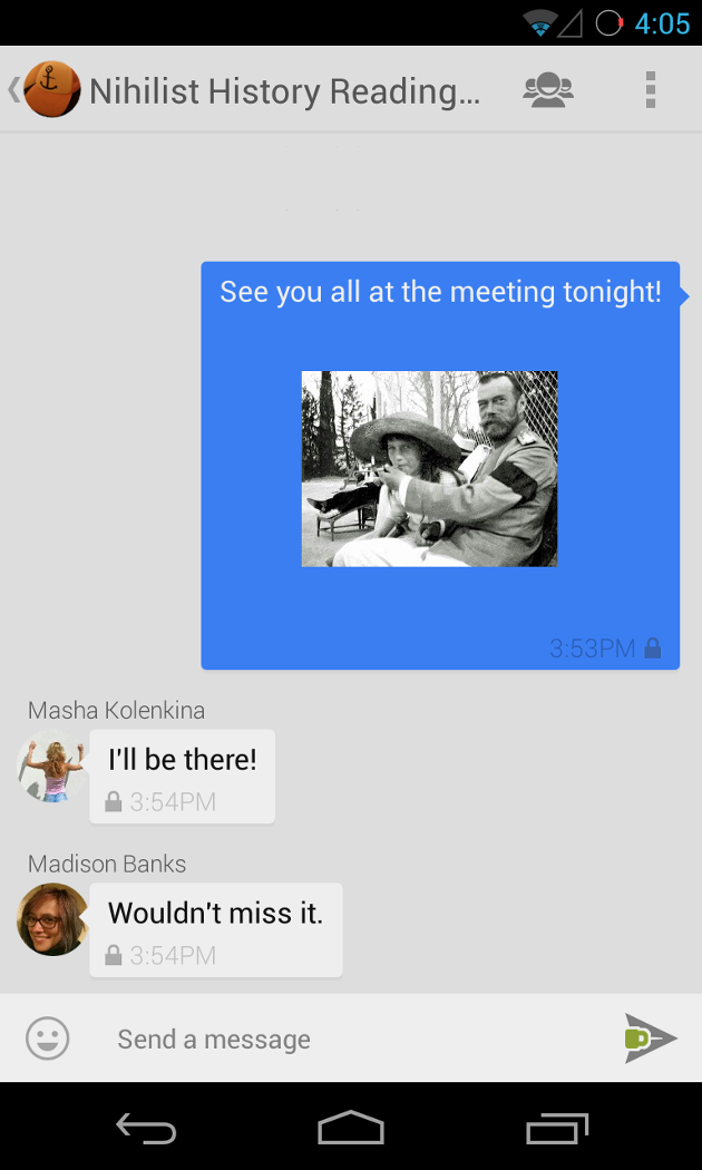 Screenshot of a group conversation in TextSecure