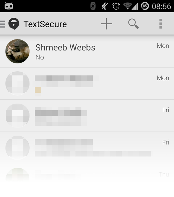 Screenshot of a redesigned TextSecure contact list