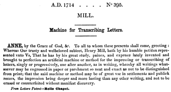 The text of Henry Mill's patent from a reference index.