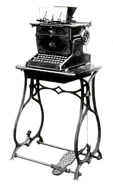 The Sholes and Glidden typewriter that was manufactured by Remington.