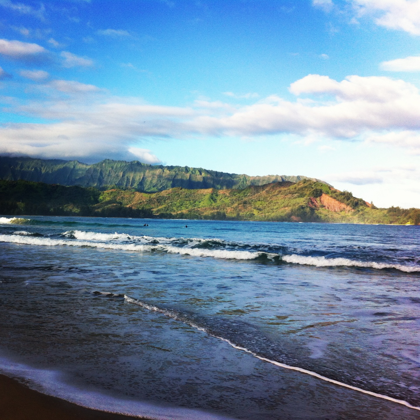 View across Hanalei bay from the beach.
