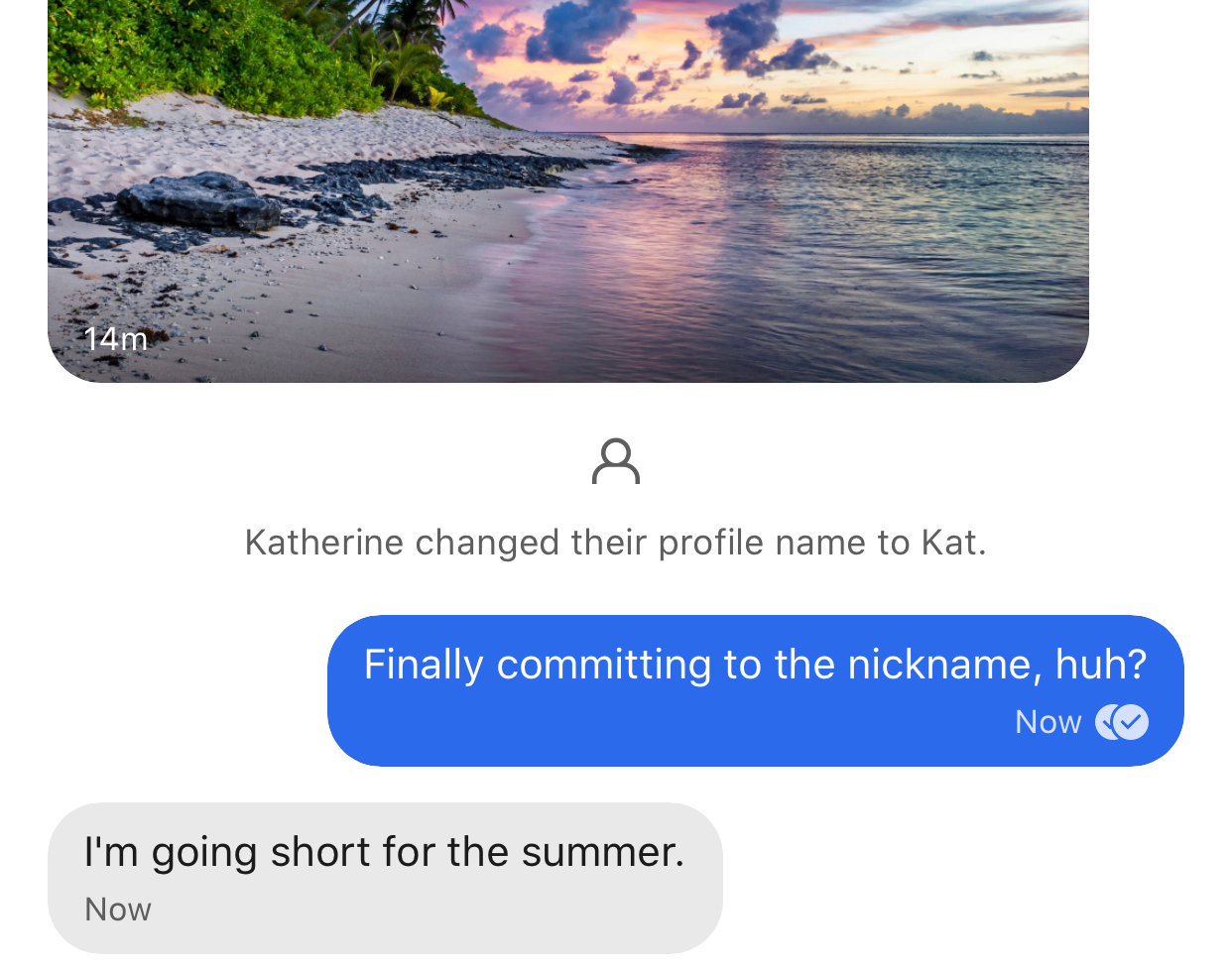 Screenshot of a conversation thread where 'Katherine' has changed their profile name to 'Kat' Person 1: 'Finally committing to the nickname, huh?' Person 2: 'I'm going short for the summer.'