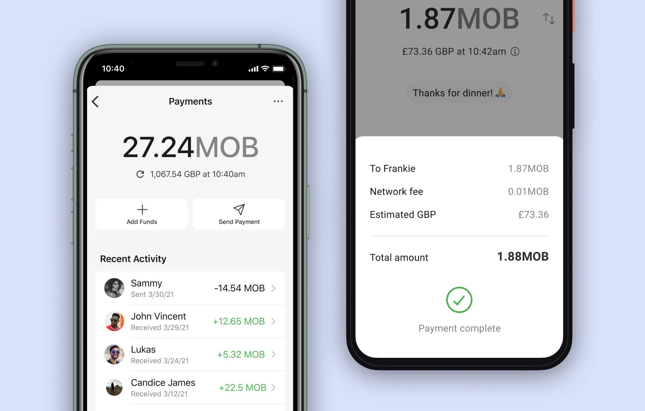 Capturas de pantalla de pagos en Signal