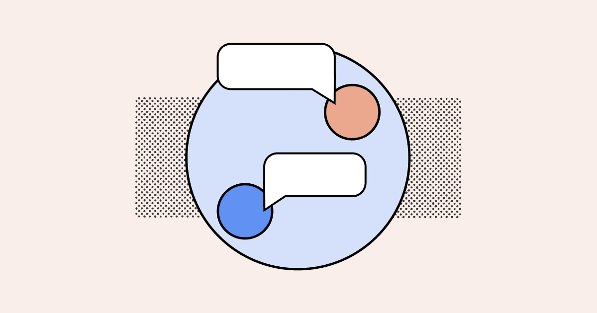 An illustration of circles and chat bubbles.