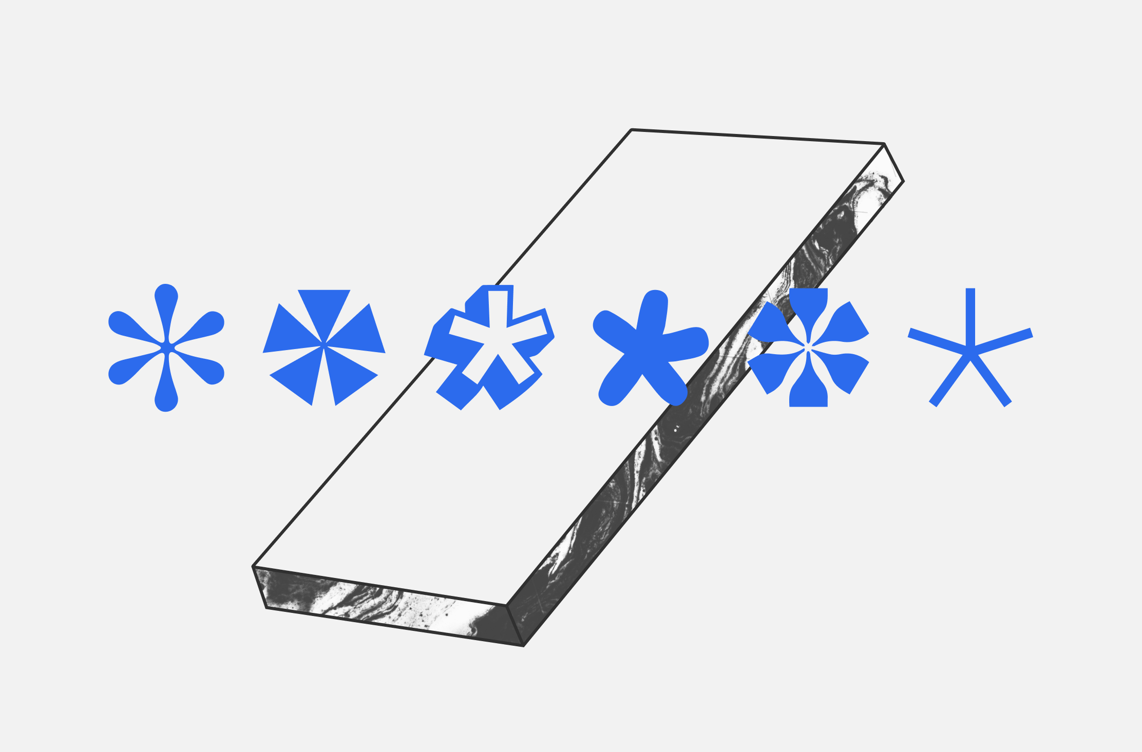 An illustration of asterisks superimposed over the shape of a smartphone.