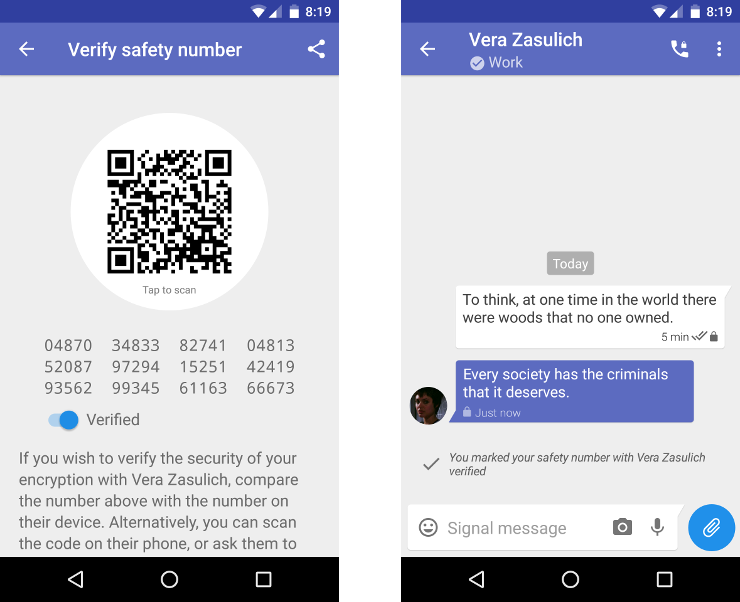 Screenshot of marking a safety number as verified