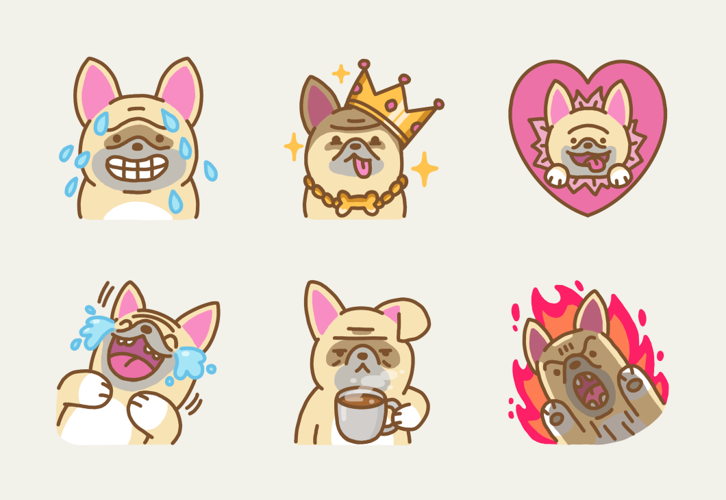 Sample of stickers from the Zozo the French Bulldog sticker pack.