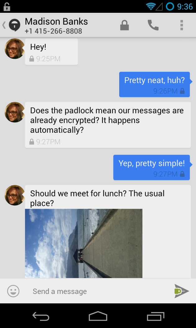 Screenshot of a TextSecure conversation over push messaging