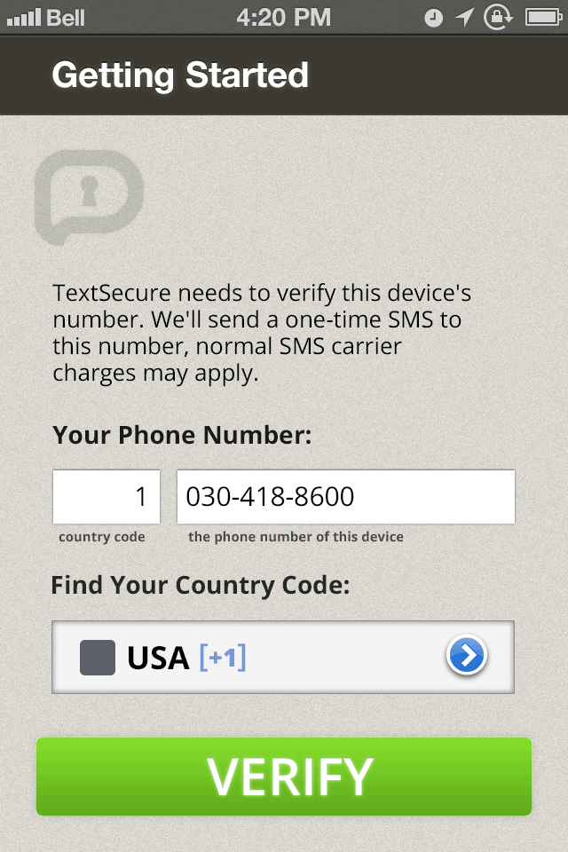 Screenshot of the TextSecure setup screen on iPhone