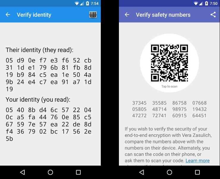 Signal verificação - número de segurança