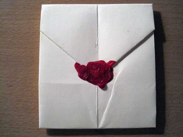Hand-folded letter sealed with wax